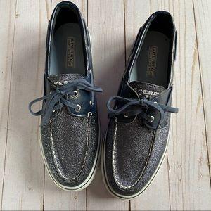 Sperry Biscayne Navy Sparkle boat shoe